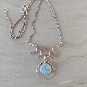 Jewelry - Natural Larimar hand crafted stamped 925 necklace